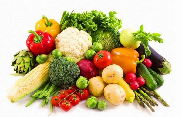 Nhiều loại rau xanh và hoa quả tươi tốt cho tình trạng bệnh