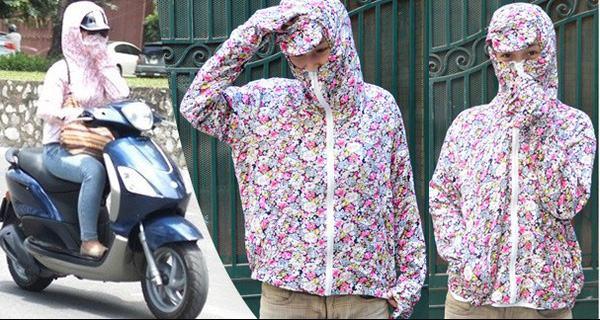 Sử dụng quần áo chống nắng khi ra đường