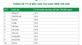 Việt Nam đứng thứ 5 trên thế giới về tỷ lệ mắc ung thư gan